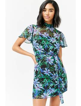 Sheer Floral Shift Dress by F21 Contemporary