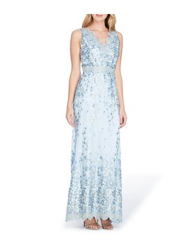Scallop Neckline Embroidered Lace A Line Gown by Tahari Asl