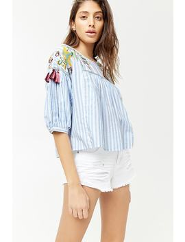 Embroidered Striped Top by F21 Contemporary