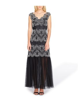 Tahari Asl Lace Embroidered A Line Gown by Tahari Asl