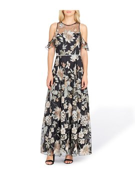 Cold Shoulder Floral Print Embroidered Gown by Tahari Asl