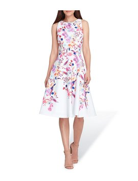 Floral Printed Fit And Flare Dress by Tahari Asl