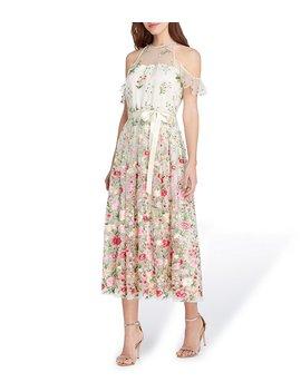 Tahari Asl Embroidered Cold Shoulder Dress by Tahari Asl