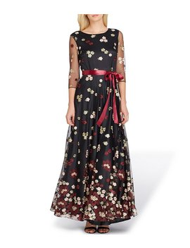3/4 Sleeve Embroidered Gown by Tahari Asl