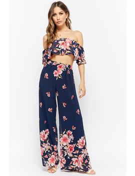 Floral Print Crop Top & Palazzo Pants Set by F21 Contemporary