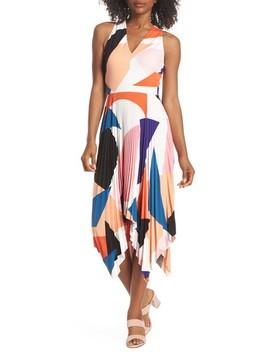 Print Handkerchief Hem Midi Dress by Maggy London