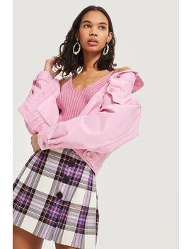 Tartan Button Kilt Skirt by Topshop