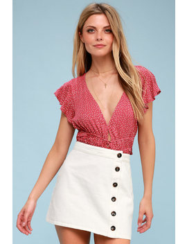 No Hesitation White Button Front Denim Mini Skirt by Lulus