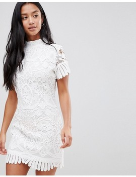Boohoo Petite High Neck Pleat And Lace Mini Dress by Boohoo