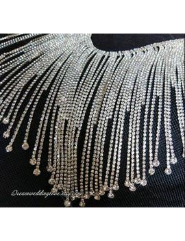 Long Tassels Rhinestone Trim, 10cm, Overlength  Fringe ,Crystal Applique, Neckline Applique, Collar , Wedding Shoe ,Diy Wedding by Etsy