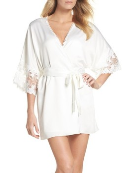 Iris Charm Short Satin Robe by Flora Nikrooz