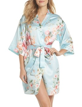 Renata Short Satin Robe by Flora Nikrooz