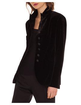 Velvet Stretch 10 Button Jacket by Akris