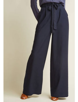 High Waisted Wide Leg Trousers In Navy High Waisted Wide Leg Trousers In Navy by Modcloth