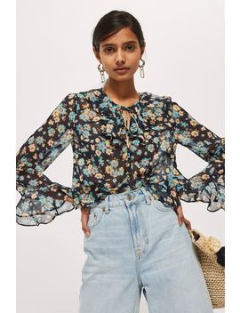 Floral Print Frilled Ruffle Blouse by Topshop