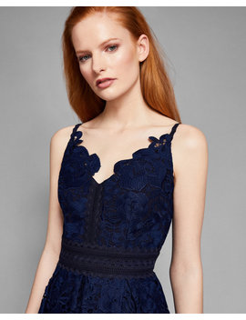 Lace Peplum Detail Dress by Ted Baker