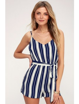 Carraway Navy Blue And White Striped Romper by Lulus