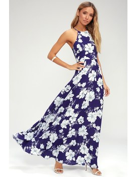 Valley Isle Royal Blue Floral Print Maxi Dress by Lulus