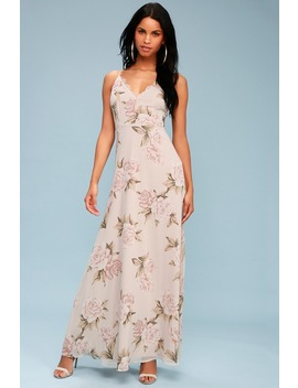 Romantic Memories Taupe Floral Print Maxi Dress by Lulus