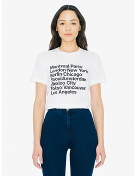 Unisex Cities Print 50/50 T Shirt by American Apparel