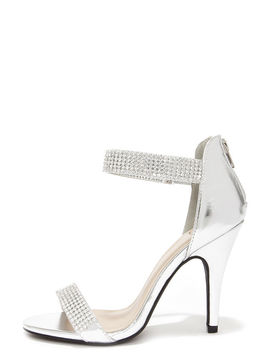 Bling On The Night Silver Rhinestone Ankle Strap Heels by Lulu's