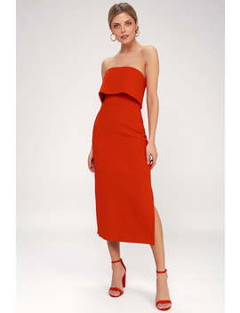 Entice Red Strapless Midi Dress by C/Meo