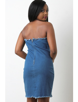 Distressed Denim Strapless Mini Dress by Urbanog