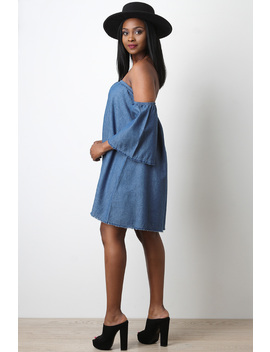 Chambray Bardot Trapeze Dress by Urbanog