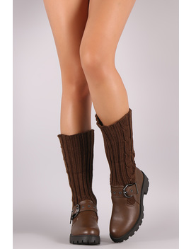 Bamboo Buckled Sweater Shaft Lug Sole Platform Boots by Urbanog