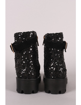 Bamboo Sequin Accent Military Lace Up Lace Ankle Boots by Urbanog