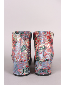 Qupid Block Heel Floral Brocade Booties by Urbanog