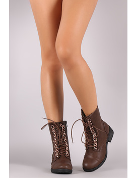 Curb Link Chain Lace Up Round Toe Combat Ankle Boots by Urbanog