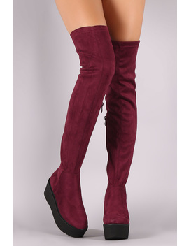 Faux Suede Thigh High Lug Sole Flatform Boots by Urbanog