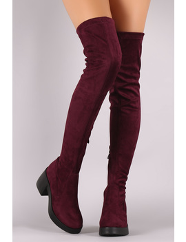 Stretch Suede Almond Toe Thigh High Boots by Urbanog