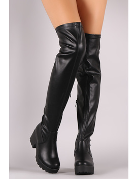 Platform Lug Sole Vegan Leather Over The Knee Boots by Urbanog