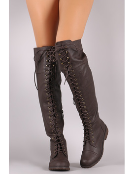 Round Toe Lace Up Combat Over The Knee Boots by Urbanog