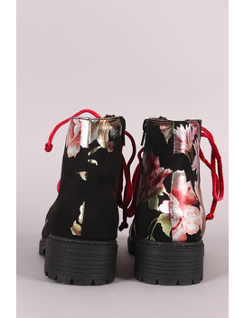 Shoe Republic La Suede Floral Lace Up Combat Ankle Boots by Urbanog