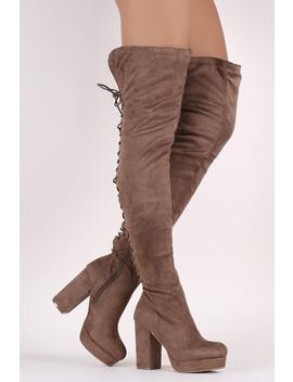 Wild Diva Lounge Corset Lace Up Chunky Platform Heeled Otk Boots by Urbanog