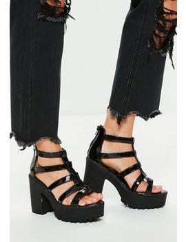 Black Cleated Sole Gladiator Platform Sandals by Missguided