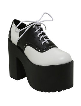 Black &Amp; White Platform Oxford Saddle Shoes by Hot Topic