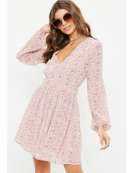 Pink Floral Long Sleeve Waisted Dress by Missguided