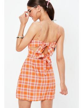 Orange Plaid Double Tie Back Mini Dress by Missguided