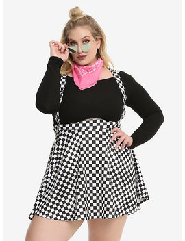 Black &Amp; White Checkered Suspender Skirt Plus Size by Hot Topic
