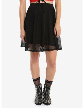 Black Fishnet Overlay Skirt by Hot Topic