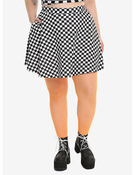 Black &Amp; White Checkered Skirt Plus Size by Hot Topic