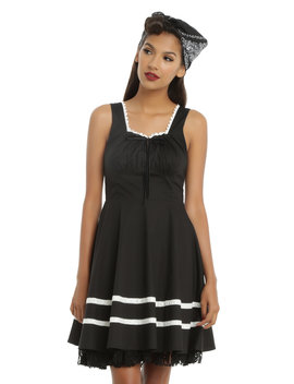 Black &Amp; Ivory Fit &Amp; Flare Dress by Hot Topic