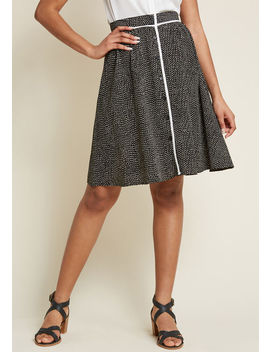 Style Identity A Line Skirt In Dotted Black Style Identity A Line Skirt In Dotted Black by Modcloth