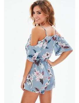 Petite Blue Cold Shoulder Floral Romper by Missguided