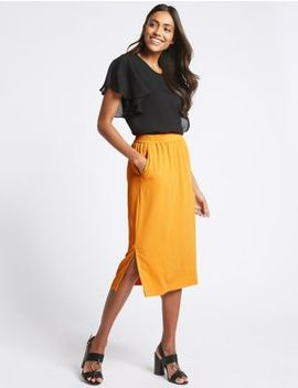 Split Front A Line Midi Skirt by M&S Collection