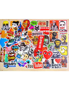 50 Pcs Stickers Vinyl Skateboard Guitar Travel Case Sticker Pack Decals Mix Cool by Unbranded